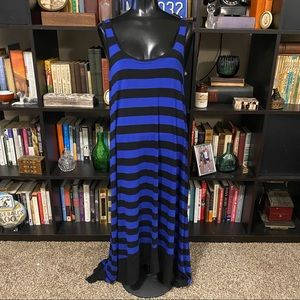 NWOT Kenzie Black & Blue High/Low Maxi Dress
